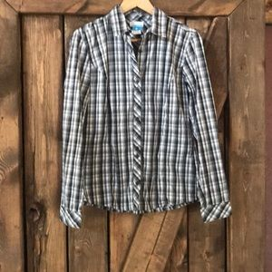 Women's COLUMBIA gray/black plaid shirt, quality